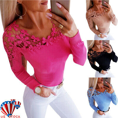 Womens Lace Long Sleeve Blouse Ladies Hollow  Slim Fit Casual Tops T Shirt Tee