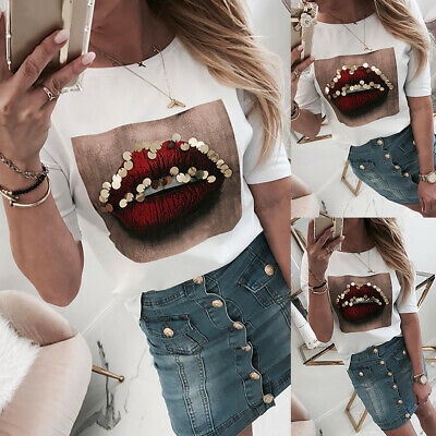 Womens Sequin Funny Lips T Shirt Ladies Short Sleeve Casual Blouse Pullover Tops