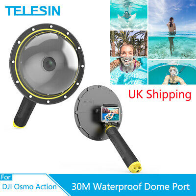 """TELESIN 6"""" Dome Port 30M Waterproof Housing Case With Handle for DJI Osmo Action"""