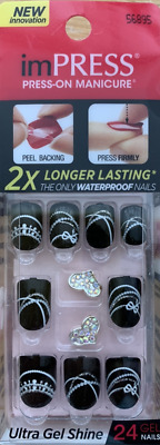 imPRESS 24 press on WATERPROOF false nails in black design & nail art 56895