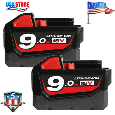 2X Battery for Milwaukee 18V XC 9Ah Lithium M18 48-11-1850 48-11-1890 48-11-1840