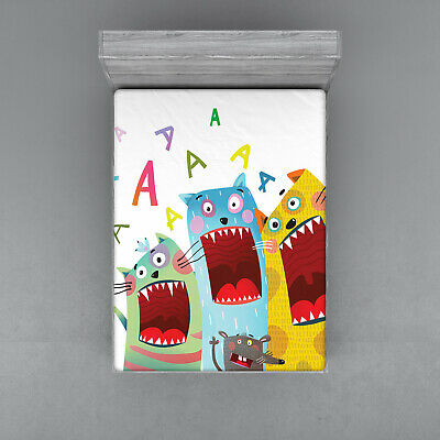 Cartoon Design Fitted Sheet Cover with All-Round Elastic Pocket in 4 Sizes