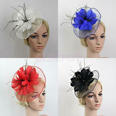 Flower Net Feather Fascinator Large Headband Wedding Races Parties Church Hat