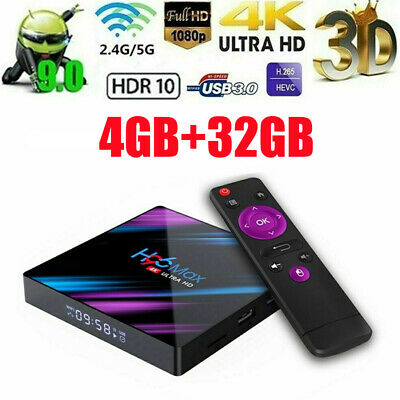 H96 Max 4K Android9.0 Quad Core Smart TV Box 16/32/64G Streamer+Tastiera R7P4