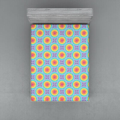 Colorful Shapes Fitted Sheet Cover with All-Round Elastic Pocket in 4 Sizes