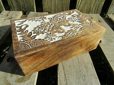 Hand Carved Made Mango Wood Wooden Butterfly Jewellery Box Chest Case Holder