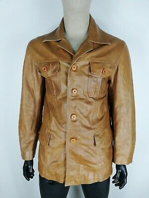 SCOUT CAPPOTTO  DI PELLE VINTAGE MADE IN ITALY Giubbotto Jacket Giacca Tg L Uomo
