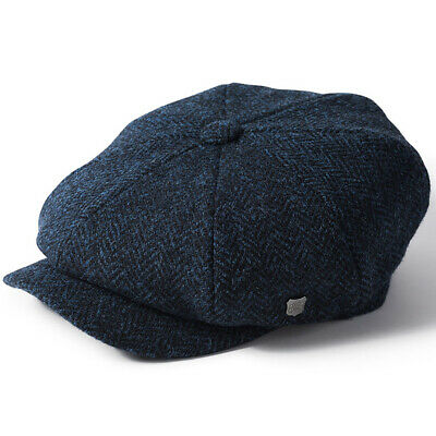 Failsworth Carloway Harris Tweed Blue Herringbone Peaky Newsboy Cap