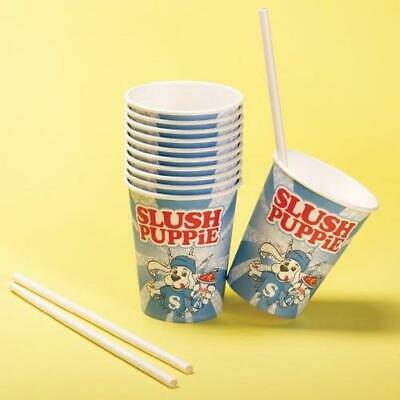 Slush Puppie Paper Cups & Straws 20 Pack Slushie Puppy Small