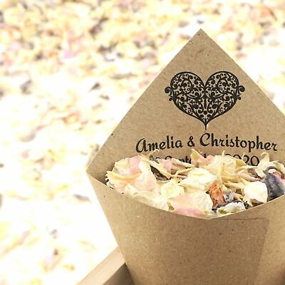 Personalised Handcrafted Ornate Heart Wedding Confetti Cones 100% Recycled