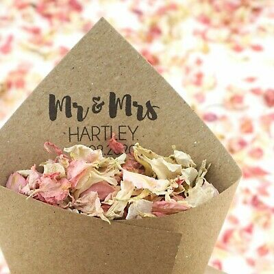 Personalised Handcrafted Mr & Mrs Wedding Confetti Cones 100% Recycled