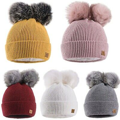 Kids Winter Beanie Hat Girls Boy Children Knitted Girl Hats Worm Double Pom Pom