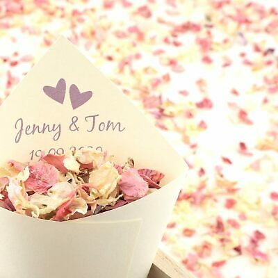 Personalised Handcrafted Two Hearts Wedding Confetti Cones 100% Recycled