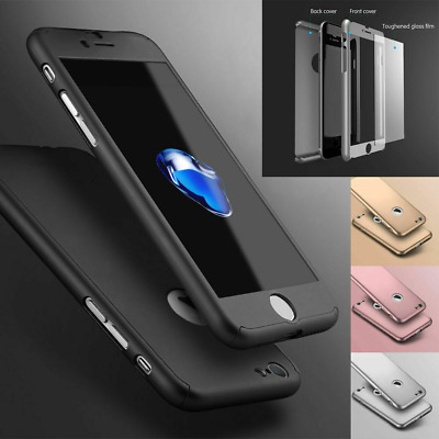 Case for iPhone 7 6 5 6s 7Plus Shockproof 360 Bumper Hybrid Phone Tempered Glass