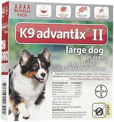 K9 Advantix II Flea Tick Mosquito Prevention for Large Dogs 21 - 55 lbs 4 pack