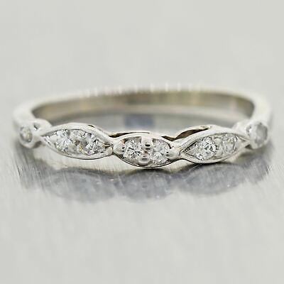 1930's Antique Art Deco Platinum Diamond Band Ring