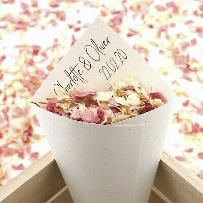 Personalised Handcrafted Boho Chic Wedding Confetti Cones 100% Recycled