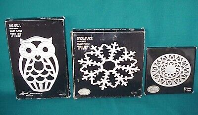 LOT OF 3 VINTAGE LEONARD SILVER PLATE TRIVETS OWL, SNOWFLAKE & GLASS w/BOXES