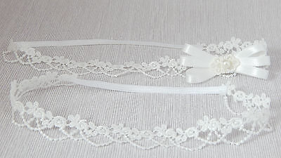 Lace baby tiara headband for christening, baptism, wedding, bow UK Handmade