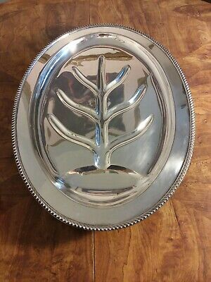 """Poole Georgian Silver Plate EPNS 4 Footed Serving Tray 18  1/2"""" Hollowed  RARE"""