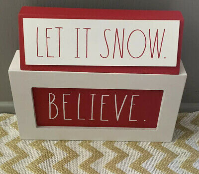"""Rae Dunn Red And White Wood Christmas Signs NEW """"Believe"""" """"Let It Snow"""" Decor"""