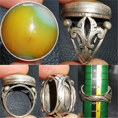 Old Rare Natural jade stone Solid Silver antique Ring # 33
