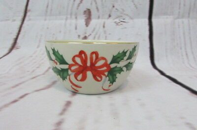 Lenox American By Design Holiday Bowl 16oz Holly Red Ribbon Gold Trim. New