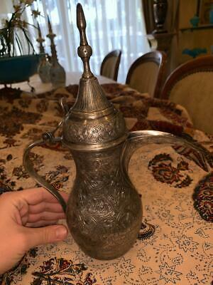 Antique Islamic Middle Eastern RARE Solid Silver  Hand Etched Dallah Coffee Pot