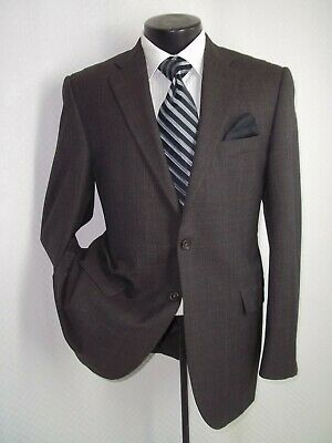 Burberry London Taupe Gray Plaid 2 Buttons Side Vents Wool Jacket Coat 40 R