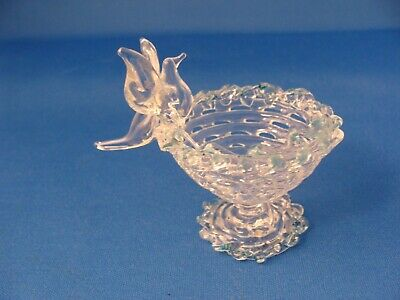Tiny Hand Blown/ Spun Glass Bird Bath with Bird on the Edge