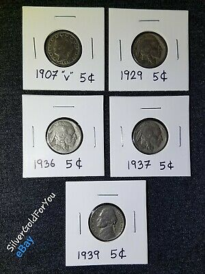 5 Nickels Coins 5c Liberty Victory V 1907 Buffalo 1929 1936 1937 Jefferson 1939
