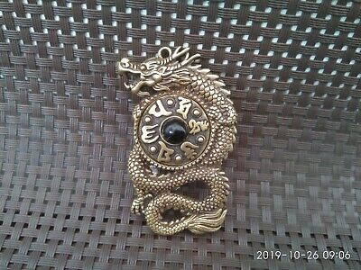 Chinese Old Hand-made pure brass Rotating geomantic Dragon pendant Statues