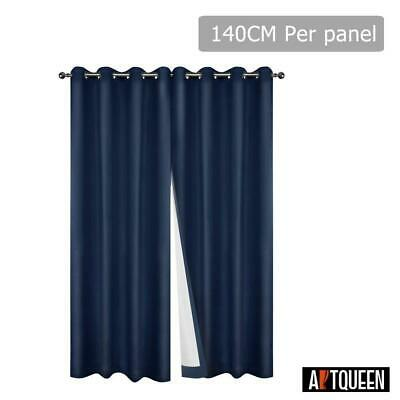 Art Queen 2x Blockout Curtains Eyelet Blackout Window Curtain 3 Pass Fabric Room