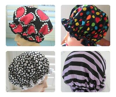 Designer Hand made Shower cap, WATER PROOF SELECT FROM 6 POLKA DOTS DESIGNS
