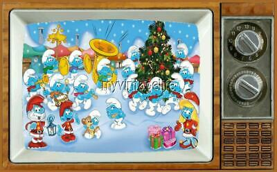 "SMURF'S CHRISTMAS TV Fridge MAGNET 2"" x 3"" art SATURDAY MORNING CARTOONS"