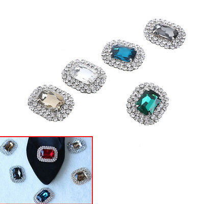 1PC women crystal rhinestone metal shoes clips bridal shoe charms decoration  FR