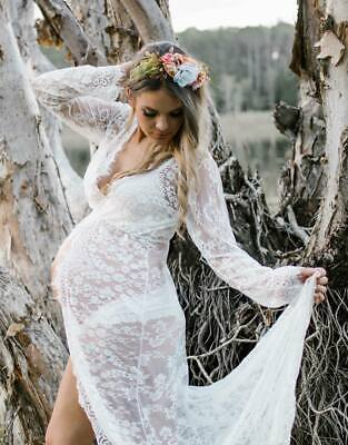 White Lace Maternity Dress Gown - Photography Photo Shoot Prop