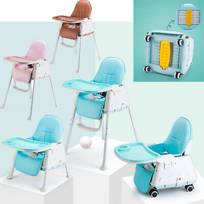 Foldable Portable Baby Kids Highchair High Chair With Feeding Tray Padded Seat