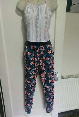 Girls Summer Crop Top And Floral Trousers outfit Age 14-15 New Look #H