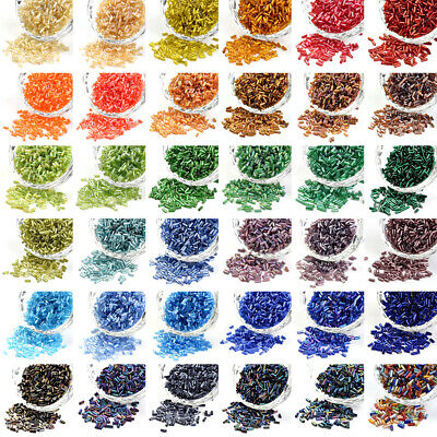 1200pcs/50g Czech Glass Seed Beads Tube Smooth Two Cut Bugle Tiny Spacer 5x1.8mm