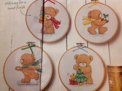 (X6) Festive Bears Tree Presents Ice Skating Christmas Cross Stitch Chart