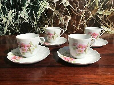 Giraud Limoges France, 4 Classy Coffee Cups with Pink Floral Decoration