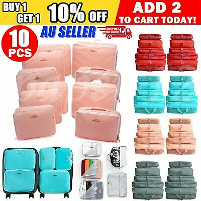 10x Packing Cubes Travel Pouches Luggage Organiser Clothes Suitcase Storage Bags