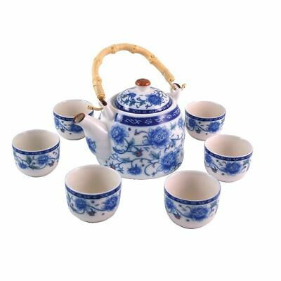 Traditional white porcelain Chinese tea set peony design - teapot & 6 cups