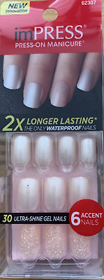 imPRESS 30 press on false nails in pearl & alternative feature nails 62307