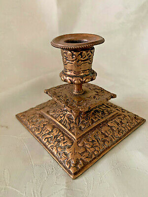 Heavy Brass Ornate Squat  Candle Stick Holder