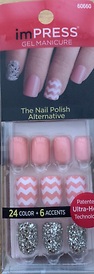 imPRESS 30 press on false nails in peach & alternative feature nails 60660