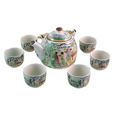 Traditional white porcelain Chinese tea set  - ladies in palace garden 6 cups