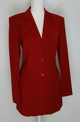 Betty Barclay Ladies Tailored Jacket Size 12 Red Fitted Wool blend smart VGC