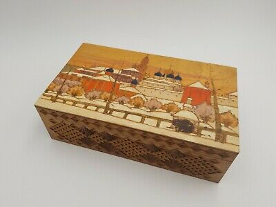 Vintage Russian Pyrography Carved Wood Wooden Hand Painted Trinket Jewelry Box